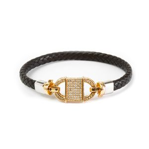 14k Rose Gold Diamond Connect Leather Bracelet