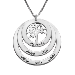 Sterling Silver Circle Family Tree Necklace
