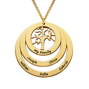 18k Yellow Gold Plated Circle Family Tree Necklace