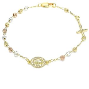 Tri Tone Gold Plated Religious Rosary Bracelet
